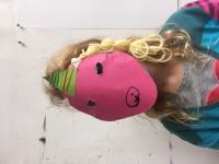 Masker eenhoorn met blonde vlecht