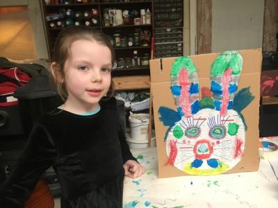 Konijn Lucy door L 5 jaar oud. Het konijn heeft rode wangen.