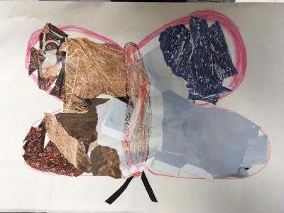 Collage van foto's uit een tijdschrift gescheurd en geknipt. En nog met potlood getekend.