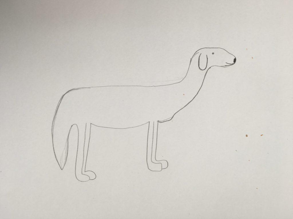 Tekening van een hond met potlood getekend met een grijs potlood